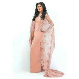 Wholesale Warps Jackets - Pink Color Long Lace Warps Arabic Evening Dresses For Women Satin Straight Sexy Prom Dresses With Jacket Formal Evening Dresses