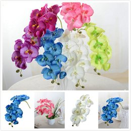 Wholesale Wholesale Blue Orchids - Artificial Butterfly Orchid Silk Flower Home Wedding Party Phalaenopsis Decor E00303