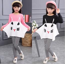 Tira de gato online-Nuevas chicas Cute Cat Strip Outfits Sets Niños Autumn Long Sleeve dos piezas de dibujos animados Chándales (loose tshirt + leggings) tight Girls Suits set