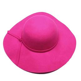Wholesale felt floppy hat - Wholesale- Stylish Kids Girls Wide Brim Retro Felt Bowler Floppy Cap Cloche Hat