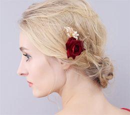 Wholesale Hair Stick Pin Barrette - Vintage Wedding Bridal Hair Pins Accessories Flower Rose Crown Tiara Jewelry Headband Headdress Fascinators U Clips Gold Leaf Princess Queen
