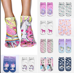 Wholesale 3d Printing Wholesale - 3D Print Unicorn Women Ankle Socks Clothing Accessories Casual Socks unicorn cartoon Animal food print Hip Hop Socks KKA2821