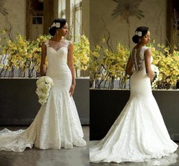 Wholesale Amazing Mermaid - Luxury African Mermaid Wedding Dresses 2016 Amazing Sheer Jewel Neck Back Covered Buttons Bridal Gowns Chapel Train Lace Wedding Gowns