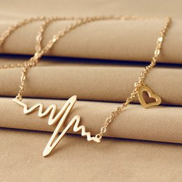Wholesale Ecg Ekg - Simple Stylish Womens Electrocardiogram Pendant Heartbeat Heart Rhythm ECG EKG Chain Necklace With Dangling Heart Clavicle Chain Silver Gold