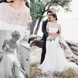 ba4931cc2d0fe gatsby dress plus size 2019 - Great Gatsby Pearl Crystal Garden Wedding  Dresses 2018 Bateau Neck