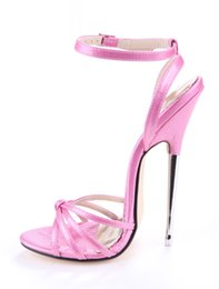 Wholesale Thin Metal Heel Sandals - 2017 Newly Brand flirtatious Lady's Pink Peep Toe 16cm Sky-High Thin Heels Cross Ankle-strap Sandals Women Dress Metal Heel Glitter Sandals