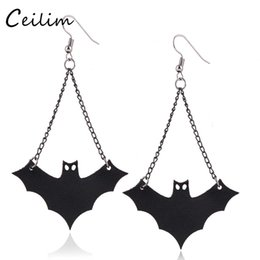 Wholesale Wholesale Goth Jewelry - 2017 Fashion Long Black PU leather Vampire Dangle Earrings Goth Halloween Vampire Bat Charms Earring For Women Hip Hop Jewelry Wholesaler