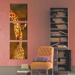 Wholesale Giraffe Wall Decor - 3 Panel Decoration Wall Decor Art Affrican Natural Animals Giraffe Painting Photo Print Stretched Ready To Hang For Living Room Bedroom