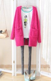 Wholesale purple mohair - Wholesale- Free shiping New Korean Women Cardigan cotton Sweet Candy Color Knit Blouse Mohair Sweater Knitwear ladies long loose sweater