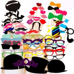 Wholesale Lips Mustache Decorations - Wholesale- Photo Booth Props 60PCS Hat Mustache Party Masks Lips On A Stick Wedding Party Decoration Birthday Christmas Favors Photo Booth