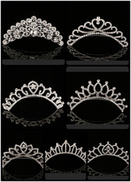 Wholesale Style Hair For Girl - 2018 Trendy 10 Styles Cheapest Shining Rhinestone Crown Girls' Bride Tiaras Fashion Crowns Bridal Accessories For Wedding Event