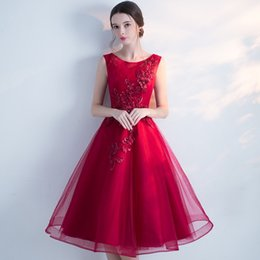 Wholesale Red Wine Pearl - SSYFashion 2017 Summer New Evening Dress The Bride Banquet Elegant Wine Red Lace Flower Sleeveless Tea-length Party Prom Dress