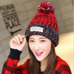 Wholesale Top Twist Hat - Winter 2016 new bonnet mixed color patch ms MAO qiu wool cap, thick twist cap with golden bonnet