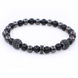 Wholesale European Beaded Bracelets - Buddha Yoga Nature Matte Stone Strand Bracelets Zircon Bead Crystal European Charm Beads DIY Elastic Bracelets Jewelry pulsera