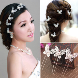 Wholesale Large Butterfly Clips - Bride Dish Hair Hair Accessories Large Butterfly Barrette U-shaped Clip Headdress Hairpin Red and White Pearl Diamond Pin Hairpin