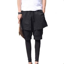 Wholesale Skirted Dance Pants - Wholesale-Mens Skirt Gothic Punk Style Club Dance Black Special Design Stylish Harem Cross Pants Fake 3 pcs Casual Men's Sport Trousers
