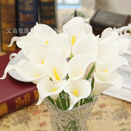 Wholesale Latex Calla Lilies Wholesale - 48Pcs Lot! Latex Real Touch Artificial Simulation C Flower Calla Lily Callas for Bridal Bouquet Centerpieces