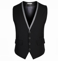 Wholesale Mens Waistcoats Casual - Mens Vest Business Casual Men's Waistcoat V-neck Male Chaleco And Colete Masculino business suit vest