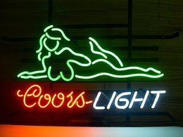 Wholesale girl bar neon light sign - Brand New Coors Light Girl Real Glass Neon Sign Beer light 20X16""