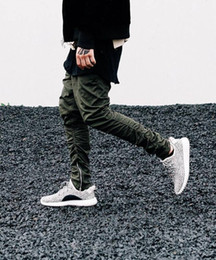 Wholesale Skinny Army Pants - Wholesale-Justin bieber brand style side zipper men slim fit casual mens hip hop jogger biker pants swag sweatpants skinny trousers olive