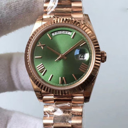 Wholesale Number Automatic Watches - High Quality Mens luxury brand men Rose gold day date green dial roman number geneva watch Water Resistant Fashion Silver Watches