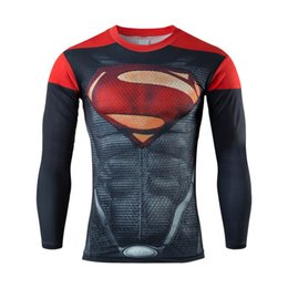 Wholesale Marvel T Shirts Wholesale - Wholesale-2016 Compression shirt men marvel avengers superhero t shirt gym fitness men long sleeve sport t shirt running tee shirts tights