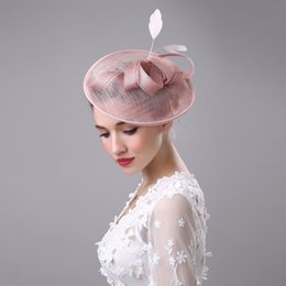Wholesale Sinamay Cocktail Hat - 2017 Women Bridal Hat Linen with Feather Lady Chic Fascinator Hat Cocktail Wedding Party Church Headpiece Hair Accessories