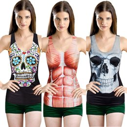 Wholesale Gothic Black White Blouse - Wholesale-2015 3D Digital Summer Sexy Gothic Punk Women's Printed Tank Tops Blouse