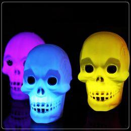 Wholesale Skeleton Table - 2016 new Led Pumpkin Skeleton light Hallowmas christmas Party Decoration Prop Bedside Table Light 5cm Halloween Lamp