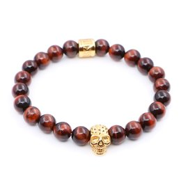 Wholesale Tiger Eyes Bracelet Women - New Fashion Red Tiger Eye Beads with Stainless steel Skull Charms Bracelets Man Women Best Friends Gift pulseira