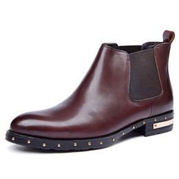 Wholesale Black Studded Platforms - New Genuine Leather Man Outdoor Studded Ankle Boots Pointed Toe Heels Platform Men's Cowboy Martin Male Chelsea Shoes