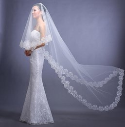 Wholesale Lace Trimmed Wedding Veils - 2016 Free Shipping Bridal veil Cheap White Lace Trimming Beautiful Wedding Accessories Chapel Long Train with Tulle