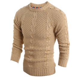 Wholesale Woollen Dresses - Wholesale-Autumn Winter Solid Sweater Men, New Dress Male Solid Knitted Sweater Men's Clothing Casual Woollen Pullovers Tops H9022