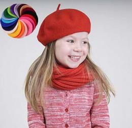 bedd34fbbf4 Pretty Kids Pure Wool Berets Caps for Autumn Winter Boys Girls Solid Colors  Woolen Felt Hats 6pcs lot Wholesale Children Beret Cap