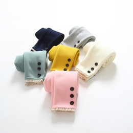 Wholesale Korean Thick Pants - 2016 Fall And Winter Clothes New Korean Children's Clothing Girls 3 Buckle Plus Thick Velvet Leggings Baby Children Cotton Long Pants