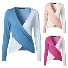 Wholesale Over Shirt Women S - 3 color distinctive ladies t shirts wholesaler sexy v neck Cross-over design two-tone long sleeve women plus size tees tops ouc2032