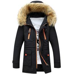 Wholesale Men Faux Fur Parka - 2016 Winter Jacket Men Down Parka Long Cotton Thick Faux Fur Collar Hooded Warm Black Casual Male Jacket