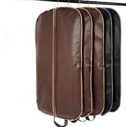 Wholesale Clothes Hanger Covers - Black Coat Clothes Garment Suit Cover Bags Dustproof Hanger Storage Protector Travel Storage Organizer Case With Zipper CCA6890 50pcs