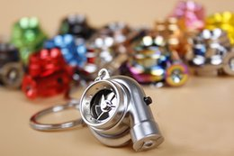 Wholesale Electric Car Solar - 13 Colors Led Light Mini Keychain LED Electric Torch Spinning Turbo Keychain Turbine Turbocharger Keyring Best Gift Free DHL F415L