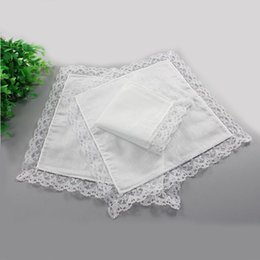 Wholesale Gift Handkerchiefs - Free DHL White Lace Thin Handkerchief DIY White Pure Handkerchief Party Decoration Cloth Napkins Oman Wedding Gifts Handmade Blank SF35
