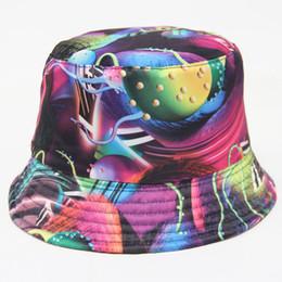 Wholesale Wholesale Canvas Cowboy Hats - 2016 New Dazzle Starry Sky Print Women Bucket Hat Spring Summer Sun Hat Round Brim Canvas Cap Sunbonnet Beabie Headwear 21 Colors