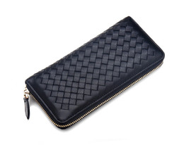 Wholesale Womens Genuine Leather Wallet - Womens Wallets And Purses Famous Brand Designer Coin Credit Card Holder Leather LuxurySmall Money Clip Wallet Women Woven Leather Wellets