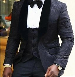 Wholesale Slim Tailcoat - Black Floral Mens Suits Wedding Groom Tuxedo Slim Fit Groomsman Prom Party Suits