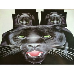 Wholesale Quilt Cover Set Leopard - Black Leopard Bedding Sets for Men Home Textile Gift, Animal Sanding Quilt Duvet Cover Flat Sheet Pillowcase Set, Fits for 1.8m Bed