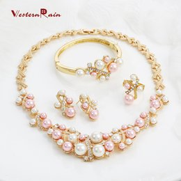 Wholesale Costume Jewelry Pearl Set - WesternRain Free shipping Fashion Pink Pearls Costume Jewelry Ladies Artificial Pearl Necklace Set New Product 2016 Gold plated jewelry A062