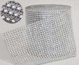 "Wholesale Table Decoration Crystals Diamonds - Wedding Decoration 10yard roll 4.75"" 24 Rows manmade Diamond Mesh yards wrap Rhinestone Ribbon Crystal trim Wrap sparkle bling ribbon WT029"