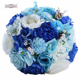Wholesale Artificial Rose Bunches - wholesale New Arrival 2018 Mint Blue Wedding Bouquet Artificial Silk Bride Bouquet buque de casamento Rose Wedding Flower Bunches Bouquet