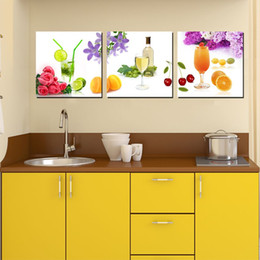 Wholesale Oil Paint Fruit - Wall decoration Unframed 3 Pieces picture Canvas Prints fruit juice orange tulips Sailing boat dolphin Coffee rose potted flower petal