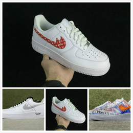 Wholesale Adult Skate Shoes - Off x Athletic Vlone 1 Ultra Classics Air 1 Low Skate Shoes Adult Brand Casual Sneakers White Runing shoes 36-45