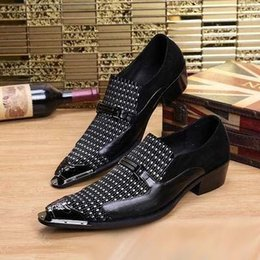 Wholesale Personalized Shoes Gold - Personalized Metal Pointed Toe Black Dress Shoes Fashion Designer Slip On Business Leisure Leather Shoes Chaussure Size 38-46